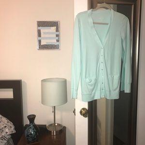 J CREW Perfect Fit Mint Green/Aqua Cotton Cardigan